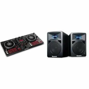 Numark Mixtrack Pro FX & N-Wave 360 – Contrôleur DJ 2 decks pour Serato DJ avec table de mixage DJ, interface audio & Enceintes monitoring DJ 60 W à Éclairage LED, Bouton de Volume