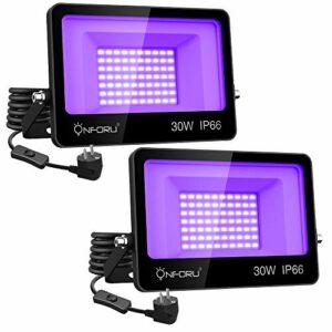 Onforu Lot de 2 Projecteur UV LED 30W, Lumière Noire IP66 Imperméable, Lampe LED Ultra-violet, Eclairage à Effet pour Aquarium, Soirée, Peinture Fluo, affiche fluorescente, Néon, Bar, Fête