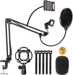 Pied de microphone réglable JatilEr, perche de microphone, support de microphone professionnel, perche de microphone avec araignée et adaptateur pour l'enregistrement de programmes en studio