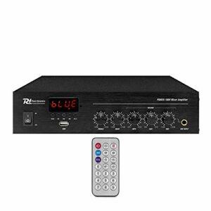Power Dynamics PDM25 – Amplificateur 100V 25W, Bluetooth, idéal pour Les Petites boutiques et Restaurants, Lecteur MP3, USB, AUX, télécommande sans Fil