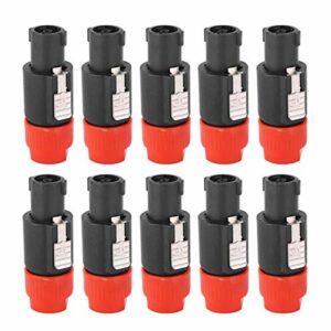 Prise Speakon, connecteur de haut-parleur audio, appareils électriques fonctionnels stables largement utilisés pour haut-parleur(red)