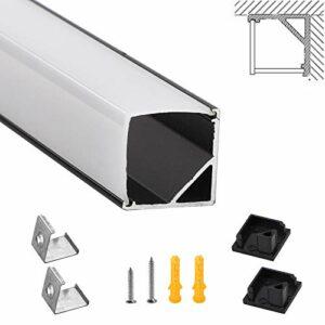 Profilé LED SWAWIS noir 6 × 1M – Rail LED en forme de V 45 degrés Profilé aluminium LED pour bande LED, canal LED avec embout et clip de fixation, support de montage pour bandes LED