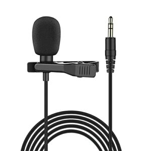 QiHaoHeji Clip-on Lavalier Microphone Microphone Omnidirectionnel Mic MIC 3.5mm Câble De 5m avec Sac De Transport Micro Revers (Couleur : Black, Size : One Size)