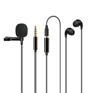 QiHaoHeji Lavalier Microphone Clip-on Omnidirectionnel Micro avec Écouteurs Micro Revers (Couleur : Black, Size : One Size)