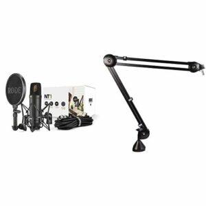 Rode NT1 Kit Composé d'un Microphone à Condensateur, d'un Support SM6 et d'une antenne Antipop Intégrée, Noir & PSA1 Boom Arm Perche de Microphone