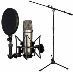 Rode NT1-A Kit microphone à condensateur + pied de microphone Keepdrum avec perche et base en métal