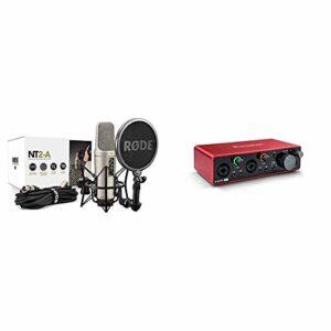 Rode NT2-A Pack Microphone à Ruban avec étui et Adaptateur de Support & Focusrite Scarlett 2i2 3rd Gen Audio Interface