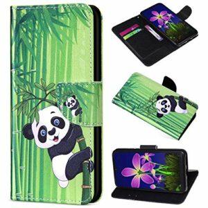 Saceebe Compatible avec Huawei Mate 20 Lite Housse en Cuir Étui Coque Portefeuille Pochette Coque Couleur Vintage Motif Housse de Protection à Rabat Antichoc Fentes pour Cartes,Animaux Panda