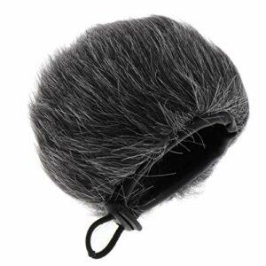 Sharplace Coupe-vent pour Pare-brise En Fourrure pour Microphone à Main 5.5x6cm Noir Gris