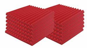 SK Studio Lot de 12 carrés de Panneau Mural Acoustique cunéiforme Home Studio Traitement insonorisé Accessoires en Mousse 25x25x5cm, rouge