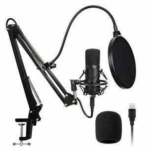 SLT Microphone USB,Kit Micro Professionnel à condensateur cardioïde USB avec Bras de flèche, Support Antichoc, Filtre Anti-Pop et Pare-Brise, pour la Diffusion, l'enregistrement, Youtube