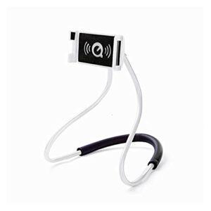 Support paresseux pour téléphone portable à col de Porte-téléphone portable suspendu au cou plaqué paresseux portable flexible 360 degrés intelligente Tour gratuit (Color : White)