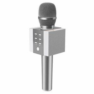 TOSING 008 microphone sans fil Bluetooth karaoké, plus fort volume 10W puissance, plus de basse, 3-en-1 portable poche double haut-parleur micro machine pour Android/PC (mèche)
