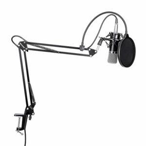 UOEIDOSB Kit Microphone à condensateur Professionnel de Diffusion et d'enregistrement de Studio + Alimentation fantôme 48 V Noir