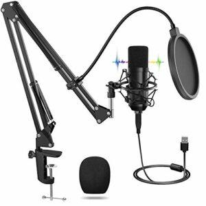 USB Microphone, Microphone Professionnel avec Support Réglable T20, Ensembles de Microphones à Condensateur pour Ordinateur Portable 192 kHZ / 24 Bits, Filtre Anti-Pop pour Enregistrement, Youtube