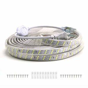 VAWAR 10m Ruban à LED – blanc froid, Bande de 3 rangées obliques, 2835 180 LEDs/m, éclairage très lumineux, 220V 230V strip, IP65 étanche, décoration pour la cuisine, la chambre à coucher, Noël
