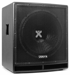 Vonyx SWP15 PRO Caisson de basse actif 800W – Phase réglable, Insert sur la face supérieure pour enceinte active, Amplificateur intégré, Grave 15″, Subwoofer professionnel pour DJ
