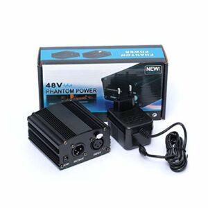 YOKING Alimentation Fantôme 48 V, avec Adaptateur Prise AU/US/EU, pour Micro À Condensateur, Kit De Microphone Karaoké