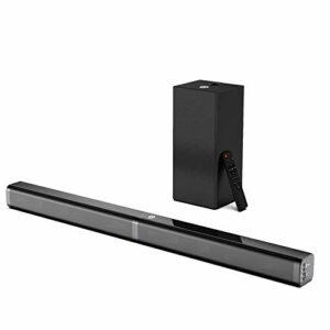 BOMAKER Barre de Son 110 DB avec Subwoofer, TV Haut-Parleur, 100 W Soundbar 2.1 avec entrée Bluetooth 5.0/ Optique/AUX/USB/TF Card – Tapio V
