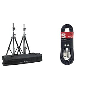 BoomToneDJ SV 200 II Pack de 2 Pieds d'Enceintes + housse & Stagg 6 m Câble Microphone XLR – XLR de Haute Qualité – Noir