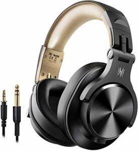 Casque Bluetooth sans Fil OneOdio Casque Audio DJ Casque Studio Casque Filaire Casque Monitoring avec Prise 6.35 & 3.5mm pour Piano Enregistrement AMP SmartphoneTablettePC (Noir et Or)
