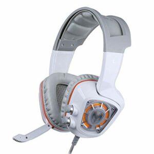 Casque de jeux d'oreille haut de gamme avec micro pour PS4, TV, PC, Sound surround HD microphone amovible casque d'oreille de chat pour filles femmes (couleur: blanc) jianyou (Color : White)