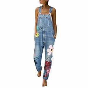 Dasongff Salopette pour femme – Rétro – Jeans – Combinaison en denim – Jambe droite déchirée – Sans manches – Décontractée avec poches – Bleu – Taille Unique