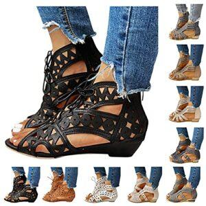 Dasongff Sandales creuses en maille croisée pour femme, sandales romaines, sangle de cheville, chaussures d'été, sandales de plage tressées, sandales compensées