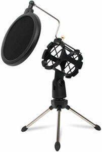 Depusheng support de condensateur de studio réglable trépied de bureau pour support de microphone micro avec couvercle de filtre pare-brise