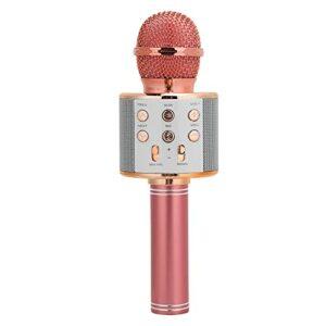 Eulbevoli Microphone à Main sans Fil, Réduction Automatique du Bruit, Haut-Parleur de Microphone Bluetooth à la Mode, Clé Multifonction, pour Windows/Mac/iOS/Android(Or Rose)