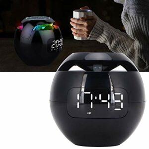 FECAMOS Haut-Parleur Bluetooth coloré, Haut-Parleur Bluetooth Multifonction avec veilleuse LED avec Affichage de l'horloge pour la décoration intérieure pour l'intérieur et l'extérieur