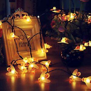 Guirlande lumineuse LED – Lampe abeille – Lampe de jardin étanche – Lampe solaire – Décoration de fête – Veilleuse – Décoration de Noël – Camp, randonnée, fête