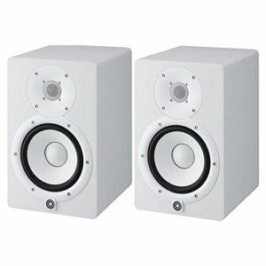 HS7W Paire de moniteurs Near Field bi-amplifiés avec système Bass Reflex 2 voies, woofer 6,5″ 95 W (Blanc)