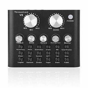 Kafuty Carte Son V8 Live, Metal Shell Téléphone Mobile Ordinateur Changeur de Voix Carte Son Bluetooth avec 112 Effets sonores électroacoustiques 18 6 Modes d'Effet, pour Enregistrement en Direct