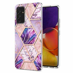 Lijc Compatible avec Coque Samsung Galaxy A82 Placage Double Face IMD Splicing Marble [Protecteur D'écran Gratuit] Dur TPU Silicone Bumper Antichoc Étui-Violet-Clair