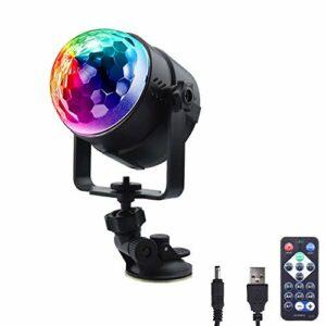 Luxvista Mini boule magique à LED avec lumière disco 7 couleurs RVB, effet rotatif, câble USB, son activé + télécommande, éclairage d'ambiance pour disque/KTV/Bar/Party/DJ