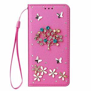 Nadoli Wallet Coque avec Diamant pour iPhone 11 Pro Max 6.5″,3D Fait Main Arbre Fleur Papillon Soie Dessin Bling Pailleté Brillant Faux Cuir Dragonne Housse Étui à Rabat