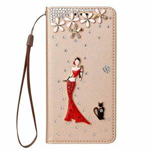 Nadoli Wallet Coque avec Diamant pour iPhone 12 6.1″,3D Fait Main Fille Fleur Chat Soie Dessin Bling Pailleté Brillant Faux Cuir Dragonne Housse Étui à Rabat