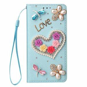 Nadoli Wallet Coque avec Diamant pour iPhone 12 Mini 5.4″,3D Fait Main Amour Coeur Fleur Soie Dessin Bling Pailleté Brillant Faux Cuir Dragonne Housse Étui à Rabat