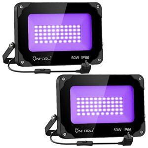 Onforu Lot de 2 Projecteur UV LED 50W, Lumière Noire IP66 Imperméable, Lampe LED Ultra-violet, Eclairage à Effet pour Aquarium, Soirée, Peinture Fluo, affiche fluorescente, Néon, Bar, Fête