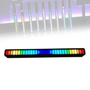 ORPERSIST Analyseur De Rythme Musique, Affichage du Spectre Audio à LED, 32 Perles De Lampe IndéPendantes, Luminosité/Vitesse LumièRe RéGlable pour Connecter Voiture/Lecteur CD,Noir,1 Pcs