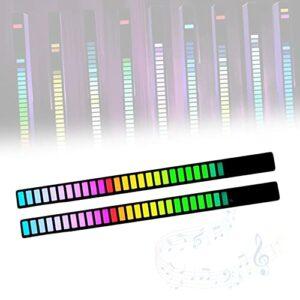 ORPERSIST LumièRe Audio du Spectre Musical, Analyseur De Rythme Musical, LED Analyseur De Spectre De Music, Affichage Dynamique Musique, Ambiance Active pour Voiture/Acoustique,2 Pcs