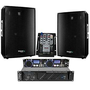 Pack SONO 3000W TOTAL – Double Contrôleur DJ USB/SD + SCRATCH IDJ2-2 Enceintes 1400W – 1 Ampli Sono 1600W – 1 Table de Mixage USB BLUETOOTH – Câble RCA – Câblage ENCEINTE – Câble PC
