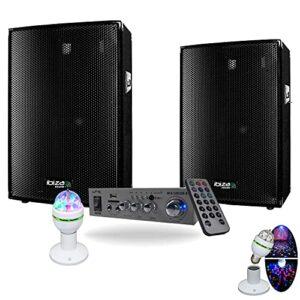 Pack Sono 600w avec 2 Enceintes Sono 300W – 1 Ampli Hifi 100w BLUETOOTH et USB – Jeu de lumière ASTRO MICRO S – Câble Hp et Câble PC OFFERTS – ANNIVERSAIRE SOIREE FAMILLE FIESTA