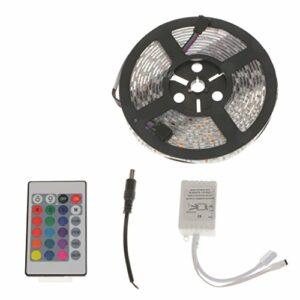 perfk 5 Mètres / 16.4ft étanche Flexible 5050 SMD LED Bande Lumineuse RGB Lampe à Guirlande Lumineuse, avec Contrôleur 44 Touches / 24 Touches et Alimentati – 24Key