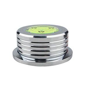 POHOVE Stabilisateur de disque LP Recor D – Stabilisateur de poids – Pince en D – Stabilisateur de disque LP avec niveau à bulle intégré pour une reproduction sonore équilibrée et réaliste (argent)