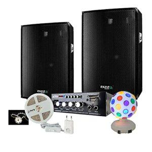 Sono 600w avec 2 Enceintes Sono 300W – 1 Ampli Hifi BLUETOOTH et USB – 2 Jeux de lumière ASTRO BALL RG et Ruban LED White 3M – Câble Hp et Câble PC OFFERTS – ANNIVERSAIRE SOIREE FAMILLE FIESTA