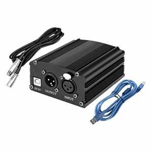 T TOOYFUL Microphone 48V Phantom Alimentation avec Adaptateur XLR Câble Audio et USB Câble pour Condenseur Micro Microphone – Noir