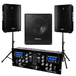Table de Mixage DJM250-BT – Enceintes 1400w – Caisson Amplifié 800w – 2 Pieds Robustes – Câble Hp, RCA et Câble PC OFFERTS – PACK SONO DJ BAR CLUB DISCO ANNIVERSAIRE SOIREE MARIAGE