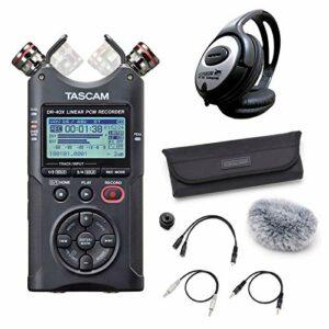 Tascam DR-40X Enregistreur audio stéréo + kit d'accessoires AK-DR11CMKII + casque Keepdrum